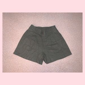 Olive colored High Rise Shorts